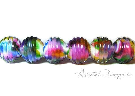 Rainbow Ribbed Lampwork Bead Rounds