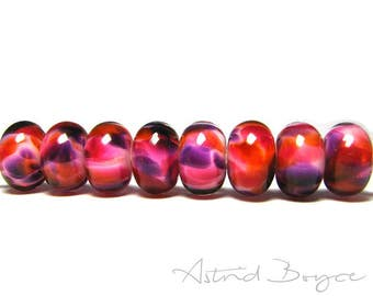 Sunrise Artisan Lampwork Bead Set - Beautiful Pantone Color Flame and Pantone Pink Yarrow Play With Purple -   Over Opal under Crystal Glass