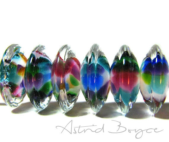 Rainbow Disks Artisan Lampwork Glass Beads Create your Look for Burning Man Boho Festivals for Spring Summer Season Self Representing Artist
