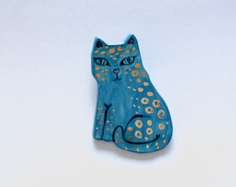Blue Leopard Ceramic Brooch with Gold Spots