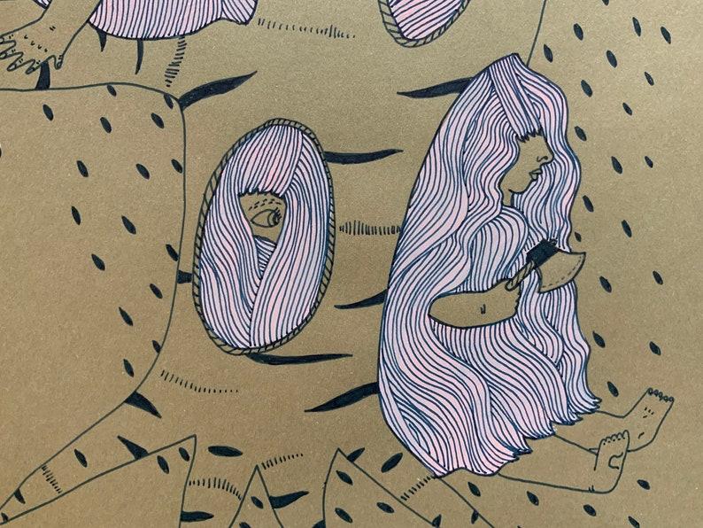 original ink and gouache illustration on paper 8\u201dx11\u201d Bound Into