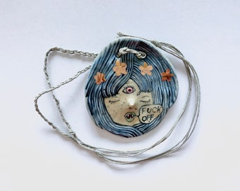 Ceramic Face F*ck Off Necklace - handpainted ceramics pendant