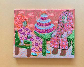 "Birthday Girl- Original Acrylic Painting on Canvas, 8""x10"""