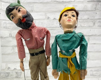 """Two Vintage Hazelle's Marionettes Airplane Control Wooden Puppet Set 14"""" Marionette 809 Robin Hood and Mystery Man Marionette"""