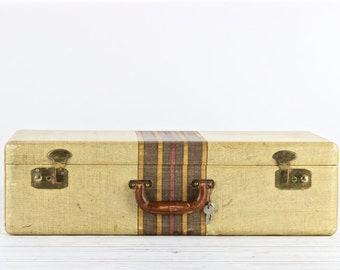 Vintage Suitcase Retro Suitcase Tweed Suitcase Old Suitcase Old Luggage Vintage Luggage Striped Suitcase Wedding Decor Rustic Decor
