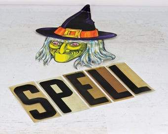 Halloween Decor, Marquee Letters Spell, Vintage Marquee Letters, Halloween Mantel Decor Spell, Vintage Halloween Decor,Witch's Spell Letters