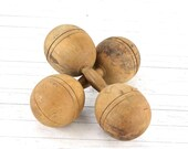 Wooden Dumbbells XXL 4 LB, Antique Wood Barbells, Old Weights, Vintage Sports Decor 1920 Dumbbells