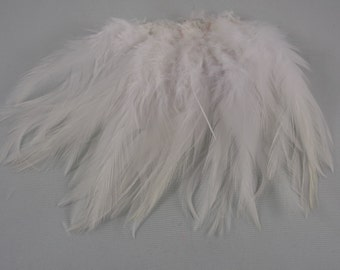 Natural White Feathers Saddle craft feathers wedding feathers 6 to 8 inches