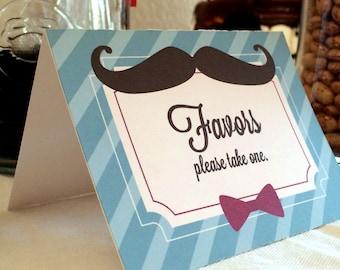 Mustache Bash Baby Shower Food Labels