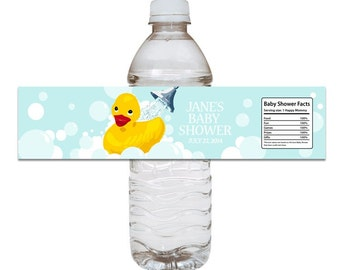 Rubber Ducky Baby Shower Water Bottle Label - DIY Printable File