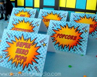 Super Hero Comic Book Food Labels (Set of 6)