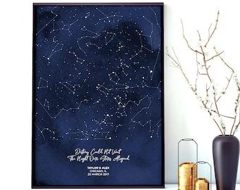 Custom Star Map Art Print Night Sky Chart First Date Engagement Wedding Paper Anniversary