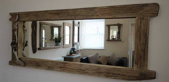 Large Distressed Wooden Framed Mirror