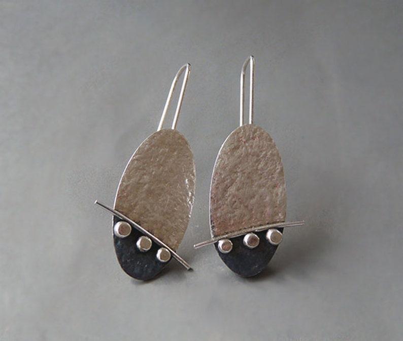 Gift for her Birthday gift. Silver jewellery Handmade earrings Sterling silver oval earrings Drop earrings Oxidised earrings