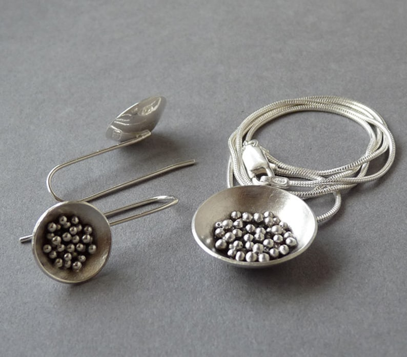 Silver necklace Handmade Sterling Silver Necklace and Earrings Set MADE TO ORDER. Silver jewellery Silver earrings