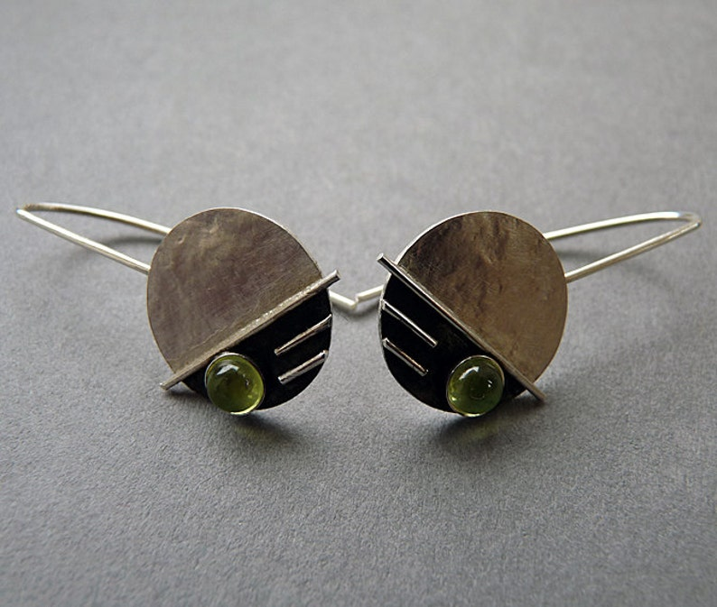 Peridot sterling silver drop earrings MADE TO ORDER. Gift for her