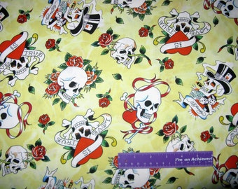 ED HARDY Love Is True Skull Roses Heart Yellow Cotton Fabric By The Half  Yard 2bb7375439