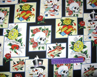 ED HARDY Love Is True Skull Roses Hearts Patch Cotton Fabric By The Half  Yard d2ee4c9a10