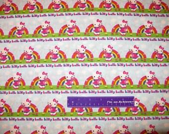 Sanrio HELLO KITTY Rainbow Teddy Bear Sky Stripe Cotton Fabric By The Half Yard