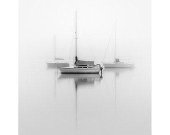 sailboat photography, sailboat print, black and white sailboat print, lake house art, beach house art, nautical photography