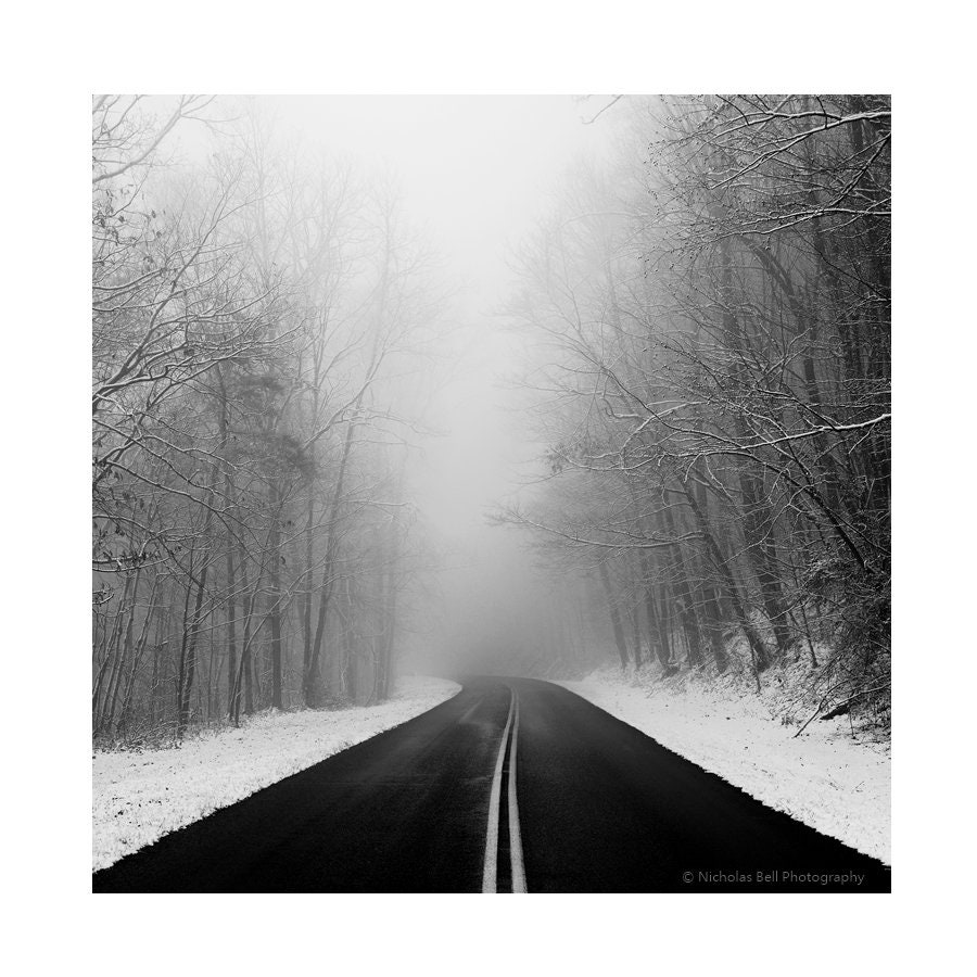 Winter photography snow winter landscape appalachia roads black and white photography snow photography fog foggy foothills parkway