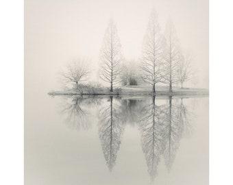 lake house art, lake house decor, lake photography, lake print, foggy lake, minimalist landscape photography