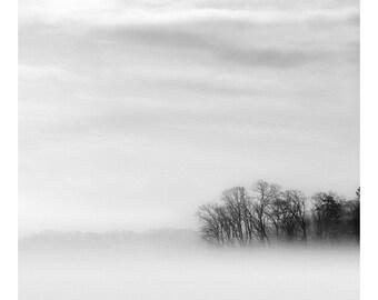 black and white lake print, lake photography, lake house art, minimalist landscape, landscape photography, art for contemporary lake house