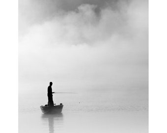 Black and white photography, fishing photography, fisherman, fathers day, nautical photography, angler, fog, foggy, clouds, boats