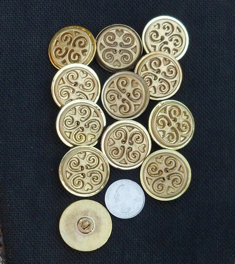 Vintage Buttons Gold Acrylic Buttons Unique Buttons Rare Buttons Sewing Buttons With Shanks For Crafts DIY Buttons Gift For Her Gift For Him