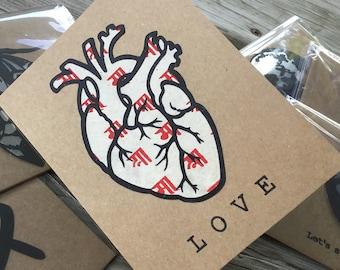 Anatomical Heart / Tibetan Sanskrit Love  Greeting Card