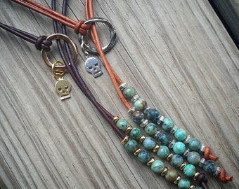 African Turquoise Leather Lariat // Gold or Silver