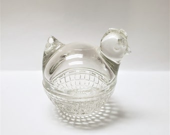 Vintage Clear Glass Hen on A Next Nest Trinket, Candy Dish, Anchor Hocking, Chicken Décor