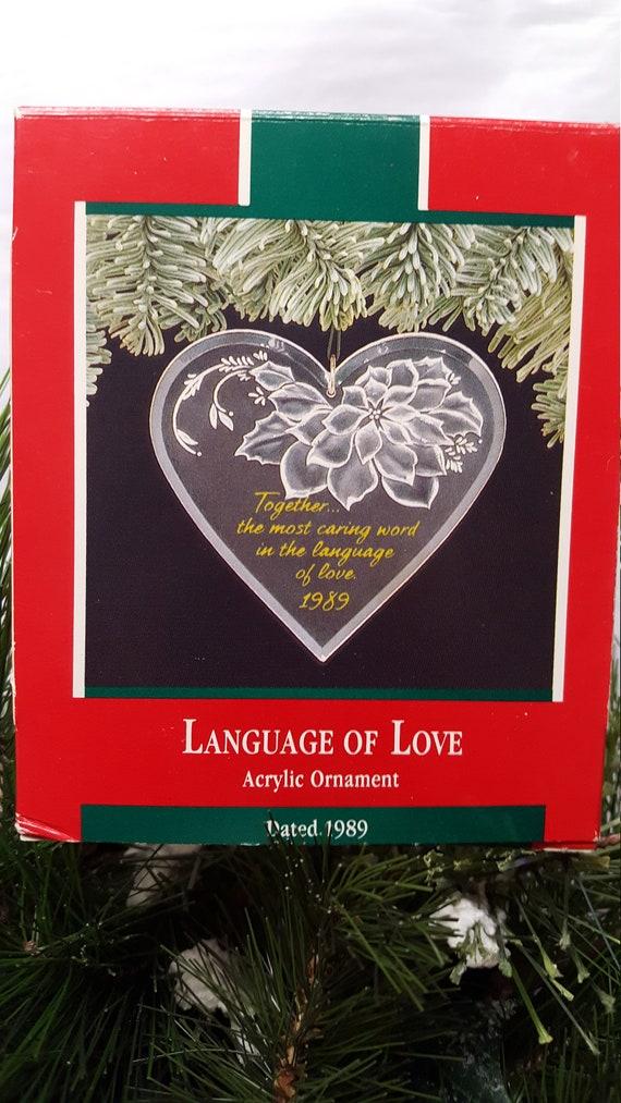 Hallmark Keepsake Christmas Ornament 1989 Language Of Love Acrylic heart