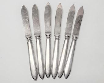 Set of 6 Vintage Silver Plated Fruit Knives, Picnic Knives, Apple Knives