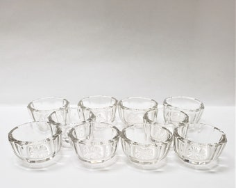 Vintage 10 Glass Crystal  Salt Dishes / Salt Cellars / Caviar Dishes