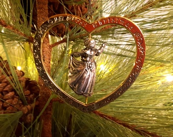 1993 Our First Christmas Together Hallmark Keepsake Ornament, Twirl About,  A Twirling Couple in a Heart a Gold Heart