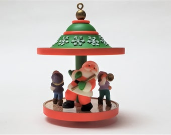 1983 Carousel Number 6 Hallmark Keepsake Ornament, Santa and Friends, The Ornament Spins.