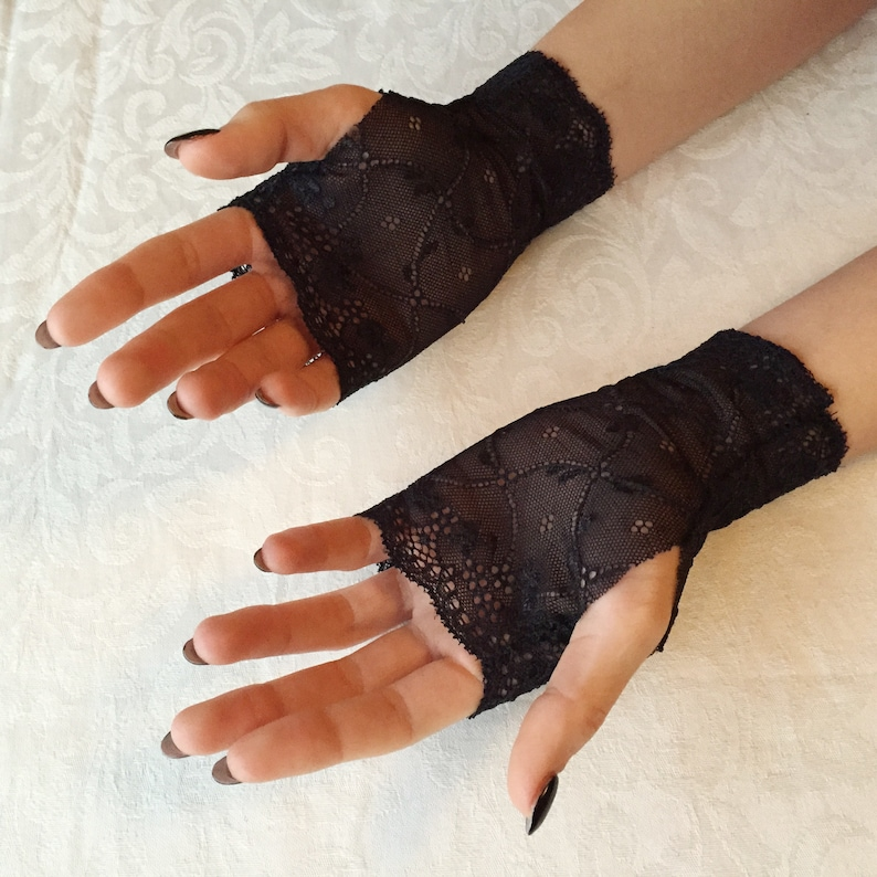 Gift For Her Ready to ship Art.001 Fingerless Gloves Bridesmaid Gloves Bride Lace Gloves  in Black