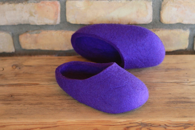 Size EU 36,5; US W 6; UK W 3,5  Ready To Ship Hand Made Felted Soft Wool Slippers in Purple.