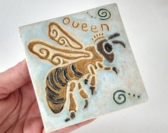 Queen Bee Arts and Crafts MUD Pi Decorative Handmade 4x4 Ceramic Tile