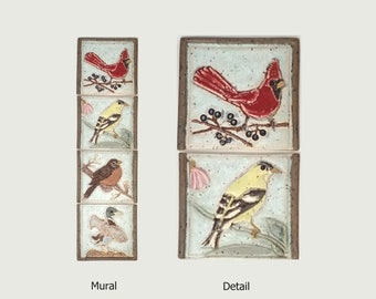 """Vertical Birds, Cardinal, Goldfinch, Robin, and Duck, Arts and Crafts MUD Pi 4""""x 15"""" Unmounted Mural  Tile"""