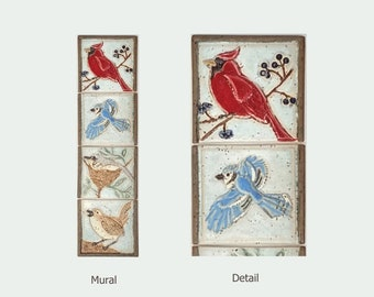 """Vertical Birds, Cardinal, Blue-jay, Flycatcher and Wren, Arts and Crafts MUD Pi 4""""x15"""" Unmounted Mural  Tile"""
