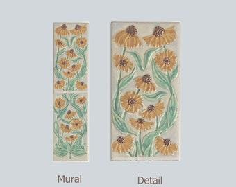 "Black Eyed Susan Arts and Crafts MUD Pi 4""x 16"" Decorative Handmade Ceramic Tile Mural"