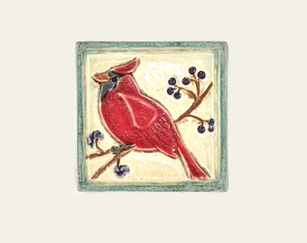 Northern Cardinal Arts and Crafts decorative handmade 4x4 MUD Pi ceramic tile