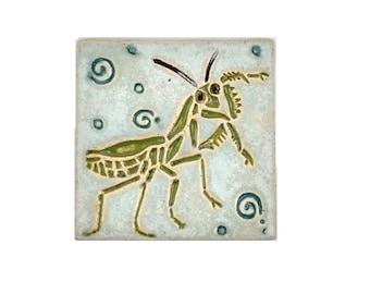 Praying Mantis Handmade Decorative MUD Pi 4x4 tile