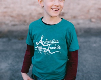 Adventure Awaits Kids Shirt - Boys or Girls Outdoors Fun Kids Tee Shirt - Baby and Toddler - Kids Clothes - Childrens Clothing