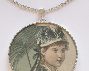 Charm Soldered Necklace Pendant Fiona and The Fig Original 1842 French Fashion Plate