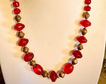 Red antique trade beads necklace