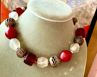 Red Bohemian beaded choker necklace