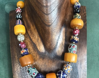 Amber and trade beads necklace